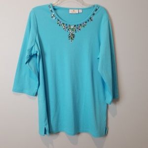 Quacker Factory turquoise blue jewel neckline M